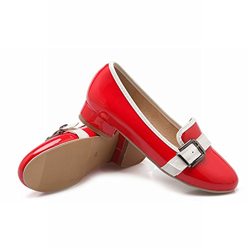 Latasa Womens Fashion Faux Patent-Leather Low Chunky Heel Slip On Monk Strap Loafers Shoes Red NIvQaZvR