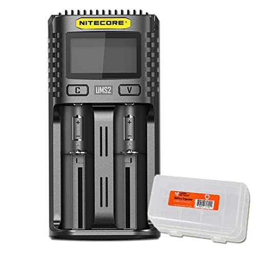 NITECORE UMS2 Intelligent USB Dual-Slot Superb Battery Charger and LumenTac Battery Organizer