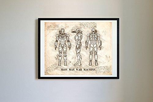 - DolanPaperCo #143 Iron Man War Machine Art Print, da Vinci Sketch - Unframed - Multiple Size/Color Options (8x10, Vintage)