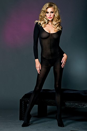 Nylon Bodystockings - Music Legs Opaque scoopneck long sleeves bodystocking 100% nylon Black ONESIZE