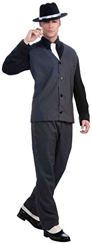 1920 Gangsters Costumes (Forum Novelties Men's Roaring 20's Pinstripe Suit Gangster Costume, Black, One Size)