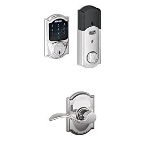 Schlage Connect Camelot Touchscreen Deadbolt with Built-In Alarm and Accent Passage Lever, Bright Chrome, FBE469NX ACC 625 CAM