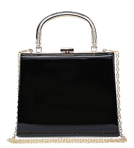 Ladies Designer Patent Top Handle Clutch - Women's Party Handbag Evening Bag MA34869 Black