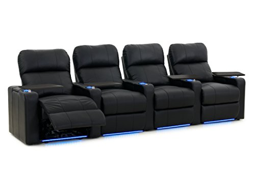 Octane Turbo XL700 Row of 4 Seats, Straight Row in Black Bonded Leather with Power Recline -  Octane Seating, TURBO-R4SP-BND-BL