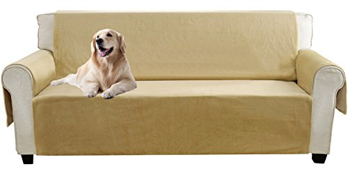 YEMYHOM Real Non-slip Pet Dog Sofa Covers Protectors with Waterproof Flannel Fabric (Sofa, Beige) (Sofa Slip Covered)