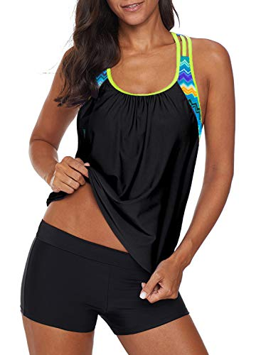 Womens Strappy Blouson Striped Color Block Printed T-Back Push Up Tankini Tops Padded Swimsuits Sporty Bathing Suits Striped Black Small 4 6