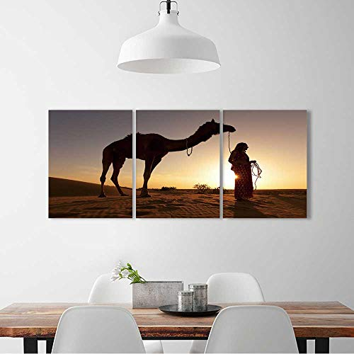 3 Pieces Modern Wall Art Decor Frameless Sunset Silhouette of a women in a saree walking across the sand dunes For Home Print Decor For Living Room W36