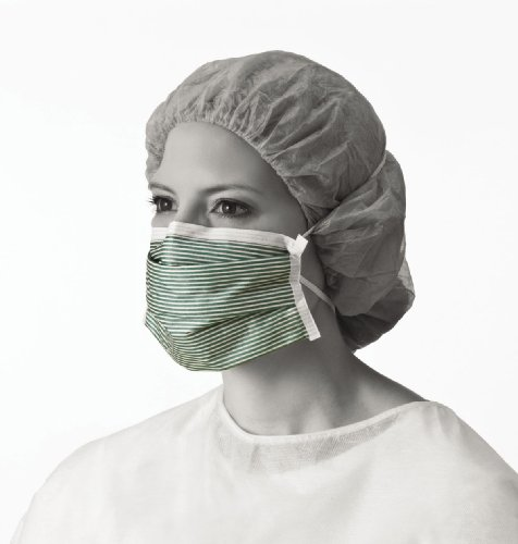 Medline NON27501 N95 Flat Fold Respirator Masks, Cellulose, Latex Free, White/Green (Pack of 210)