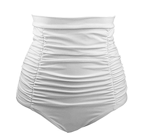 Polkra Women's High Waisted Vintage Ruched Swim Short Gathered Bikini Bottoms (2XL, White)