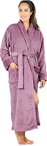Women's Fleece bathrobe (Small, Mauve) - Shaw...