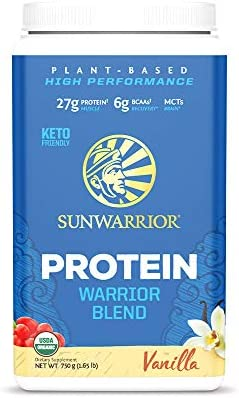 Sunwarrior Warrior Blend, Organic Vegan Protein Powder with BCAAs and Pea Protein: Dairy free, Gluten Free, Soy Free, Non- GMO, Unsweetened protein powder, and Keto Friendly, Vegetarian (Vanilla 750g) 1