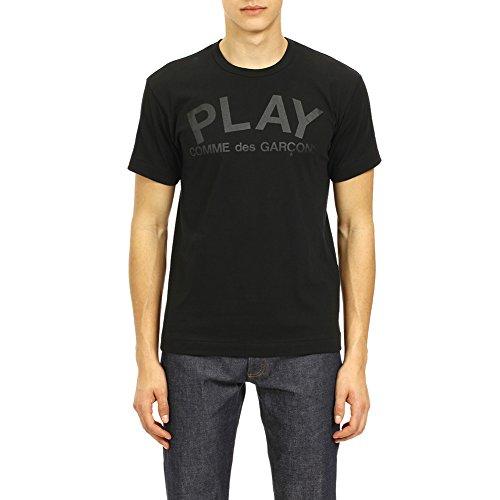 Comme des Garcons Play Men's Play Logo / Flipped Play Logo Print T-Shirt P1T188 Black/Black (S) by Comme des Garcons Play