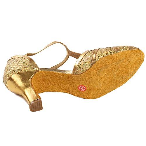 Toe Tango Wedding Glitter Dance Modern Shoes Ballroom 7cm Heel HIPPOSEUS Heel Women's 51 Low Strap Model Latin Gold Shoes T Closed qXnIS4P