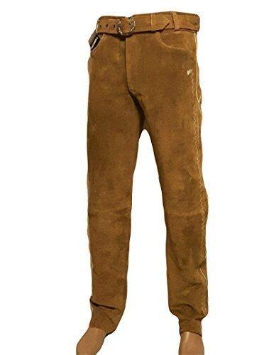 Trachten Lederhose lang inklusive Gürtel in Camel farbe Echt Leder Trachtenlederhosen Gr. 46-62 (taillenmaß stehen im beschreibung) (52, Camel (schlamm))
