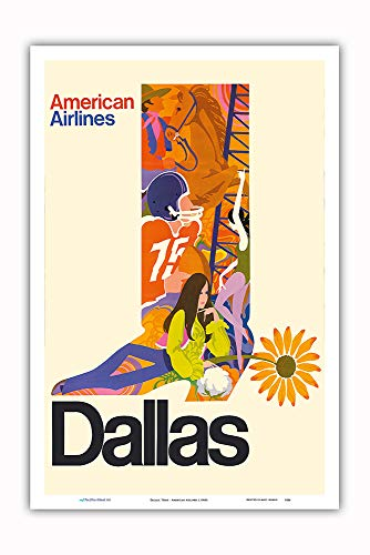 Pacifica Island Art - Dallas, Texas - Cowboy Boot with Sunflower Spur - American Airlines - Vintage Airline Travel Poster c.1960s - Master Art Print - 12in x 18in