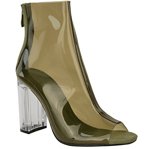 New Womens Ladies Ankle Boots Clear Perspex Block High Heels Fashion Shoes Size Khaki Green Faux Suede / Clear Heel