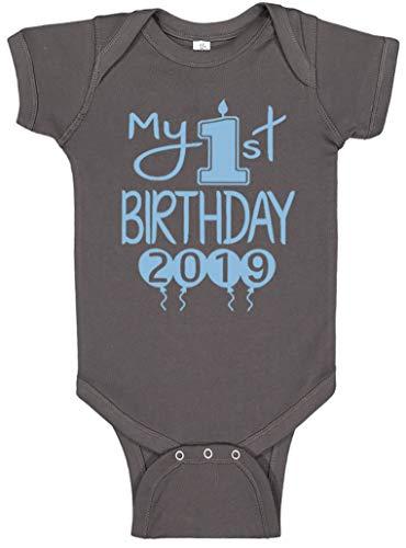 Reaxion Aiden's Corner Handmade 1st Birthday Baby Clothes - Baby Boy My First Birthday Bodysuits & Shirts (18 Months, 2019 Lt Blue Charcoal)
