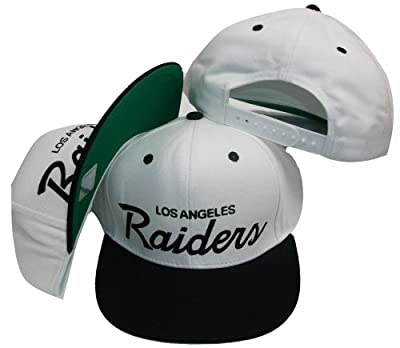Reebok Los Angeles Raiders White/Black Two Tone Plastic Snapback Adjustable Plastic Snap Back Hat/Cap