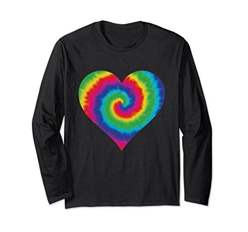 Unisex Groovy Tie Dye Heart t-shirt Funky 70's Hippie Vibe tee 2XL Black Adult Groovy Hippie Shirt