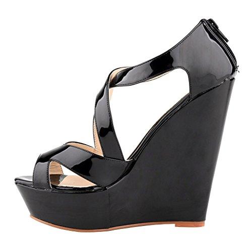 MERUMOTE - Sandalias de vestir de Material Sintético para mujer Schwarz-Lackleder