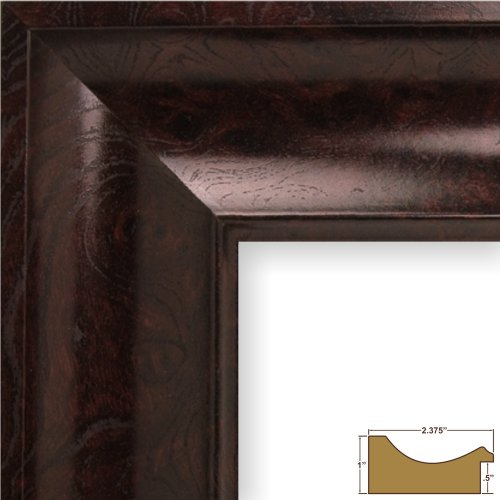 Craig Frames 50005 11 by 14-Inch Picture Frame, Smooth Wrap Finish, 2.375-Inch Wide, Mahogany Burl - Burl Moulding