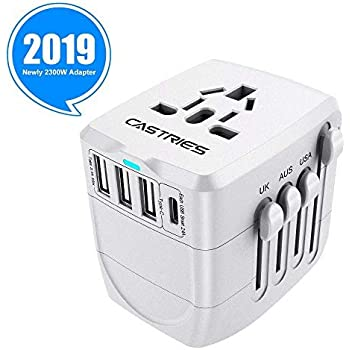 Castries Universal Travel Adapter, 2300W International Power Adapter with Dual Fuse, European Plug Adapter with 1 Type C&3 USB Ports, Universal AC Plug for Over 200 Countries, Travel Accessories,Gray