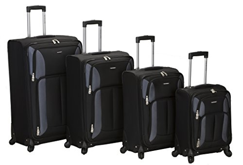 Rockland Luggage Impact Spinner 4 Piece Luggage Set, Black, One Size by Rockland