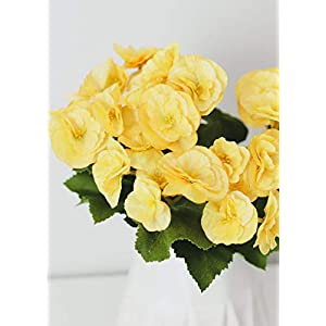 """Afloral Yellow Begonia Silk Flowers Bush - 10"""" Tall 116"""