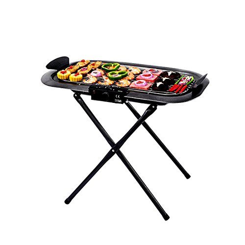 - Electric And Charcoal Smokeless Indoor and Outdoor Grill Griddle Non-Stick Cooking Surface Dishwasher Safe Removable Drip Tray Adjustable Temperature Knob Grill