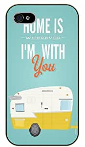 iPhone 4 / 4s Home is Wherever I'm with you. Vintage - black plastic case / Life quotes, inspirational and motivational / Surelock Authentic
