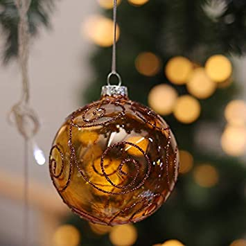 Warmiehomy 6 x Christmas Tree Baubles Fillable Hanging Glass Baubles Xmas Tree Party Wedding Decoration