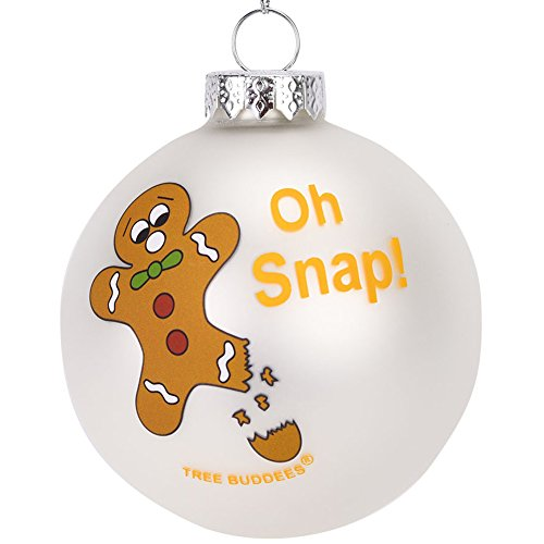 Tree Buddees Oh Snap! Funny Gingerbread Man Glass Christmas Ornament