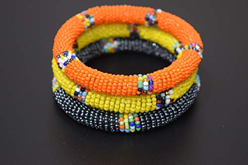 Set of 3 African Bracelet - Small/Medium Maasai Bangles - Kenya Maasai Jewelry - Handmade in Kenya - Orange, Dolphin Grey, Yellow, KB20