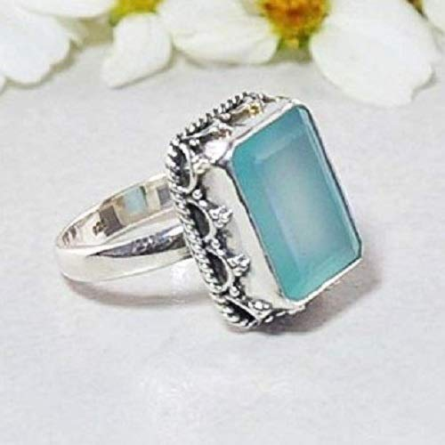 Sivalya Cushion Cut Natural Peruvian Opal Ring for Women in 925 Sterling Silver - Exquisite Hand-crafted Design in Solid Silver - Size 7