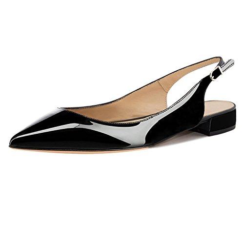 Eldof Women Low Heels Pumps | Pointed Toe Slingback Flat Pumps | 2cm Classic Elegante Court Shoes Patent Black US9.5
