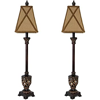 Juliette Gold with Black Shade Buffet Table Lamp Set of 2 ...