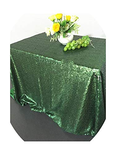 - Elegant Emerald Sequin Tablecloth Linens for Wedding and Events Decoration(90''132'' Rectangle)-r,Dark Green,48x72in-125x180cm