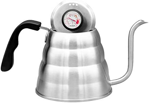 Pour Over Coffee Kettle With Gooseneck Spout by Culinary Foundry – 1.2 Liter Capacity Made of Premium Stainless Steel With Built-In Thermometer – Achieves Perfect Water Temperature Every Time