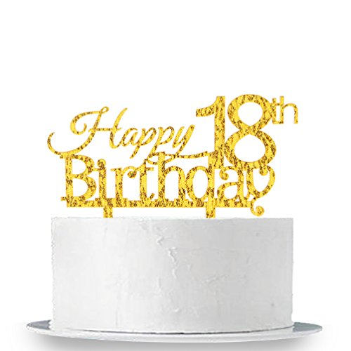 INNORU Happy 18th Birthday Cake Topper - Gold 18th Birthday Party Decoration Supplies