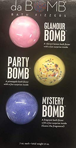 da BOMB Bath Fizzers 3 Pack Glamour Bomb, Party Bomb & Mystery Bomb with Surprise Inside each 7 oz.
