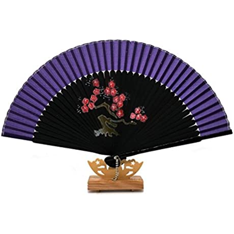 Purple Gift Bag And For Gift Silk Bamboo Cherry Blossom Design Party Dance Folding Hand Fan