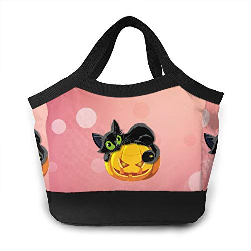 Wldwengly Handbag Halloween Cat Cute Groceries Bags with Pouch Bulk Ripstop Waterproof Machine Washable Shopping Bag
