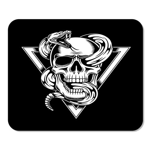 Suike Mousepad Computer Notepad Office Tattoo Skull Snake Black White Bones Clip Crest Death Home School Game Player Computer Worker 9.5x7.9 Inch ()
