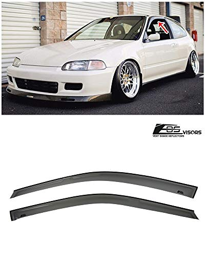 Extreme Online Store Replacement for 1992-1995 Honda Civic 2/3 Dr Coupe & Hatchback Models | EOS Visors JDM Tape-On Style Smoke Tinted Side Window Visors Rain Guard Deflectors DWV-V62 (Eg Hatch Interior)