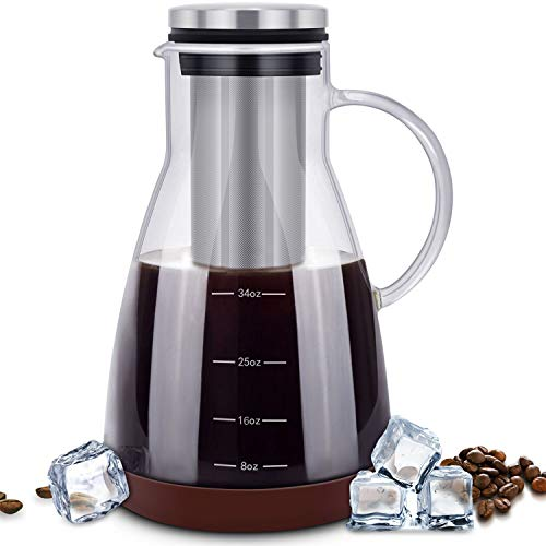 ESEOE Cold Brew Iced Coffee Maker,34oz Brewing Glass Carafe with Removable Stainless Steel Filter and Silicone Coaster,Best Tea and Coffee Maker for Homemade (BPA FREE) by ESEOE