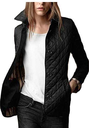 security Women's Lightweight Stand Collar Button Down Quilted Jacket Coat Black