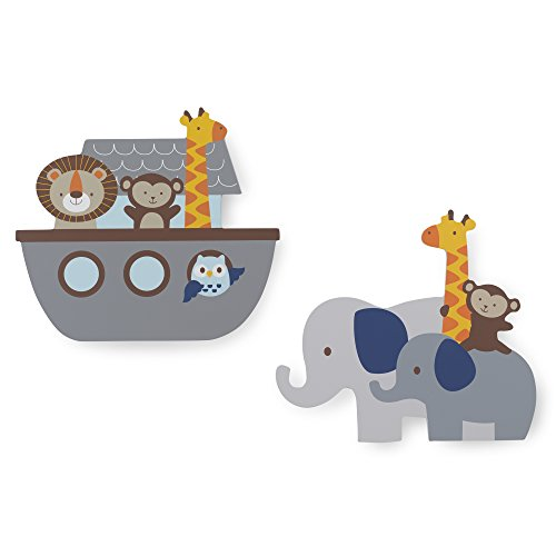 Bedtime Originals Two By Two Noah's Ark 2 Piece Wall Decor, Blue/Gray