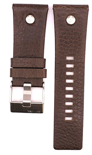 ZTD212 Fit for Diesel DZ7314 Replacement 28mm Brown Leather Watch Band Strap Free Spring BAR Tool DSL129 ()