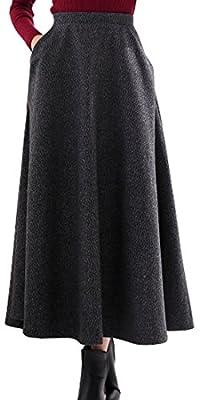 chouyatou Women's Elegant High-Waist Wool A-Line Maxi Skirt with Pockets