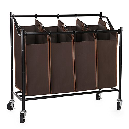 SONGMICS 4-Bag Rolling Laundry Sorter Cart Heavy-Duty Sorting Hamper W' Brake Casters Brown URLS90Z